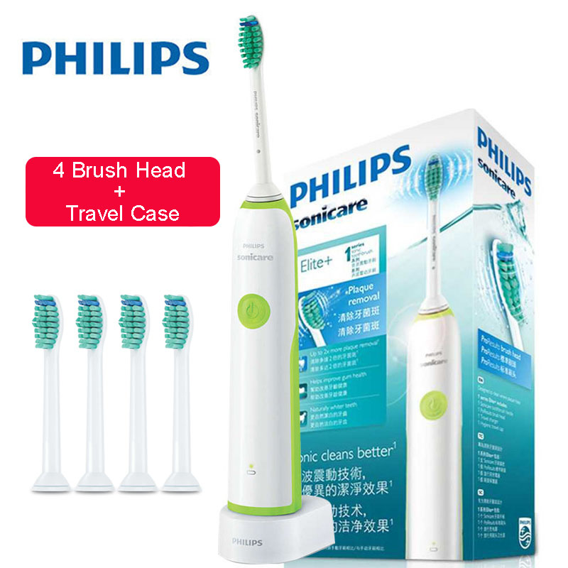Philips Sonicare Electric Toothbrush HX3216 Rechargeable With 4 Replacement Brush Heads Waterproof Use Up To 10 Days