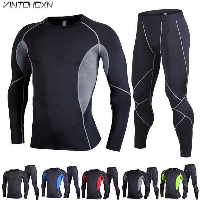 Men GYM Compression Fitness Sets Tee Top + Legging Exercise Sport Basketball Football Soccer Shirts Running Tights Clothing 4913