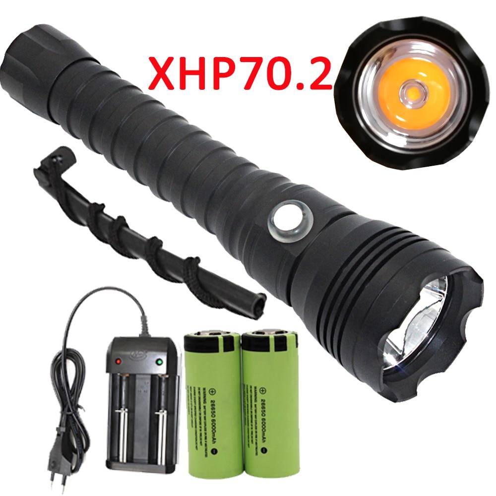 XHP70.2 LED Diving Flashlight Underwater XHP70 Scuba Dive Torch Linterna Waterproof Lamp Yellow Light 26650 Battery +Charger