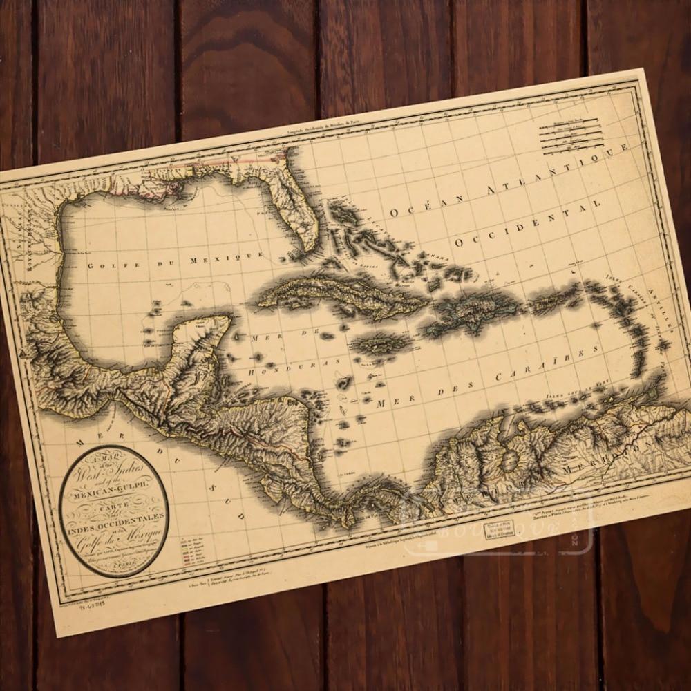 Caribbean Sea Map Classic Vintage Retro Kraft Decorative Poster Maps ...