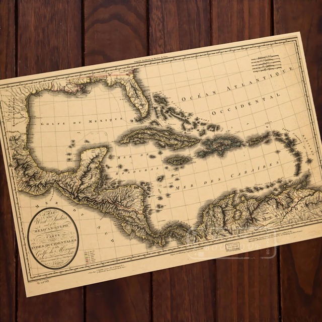 Caribbean Sea Map Classic Vintage Retro Kraft Decorative Poster ...