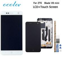 Ocolor ZTE Blade V8 mini lcd ekran + dokunmatik ekran ile çerçeve meclisi değiştirme + araçları + yapıştırıcı için ZTE bıçak V8 mini