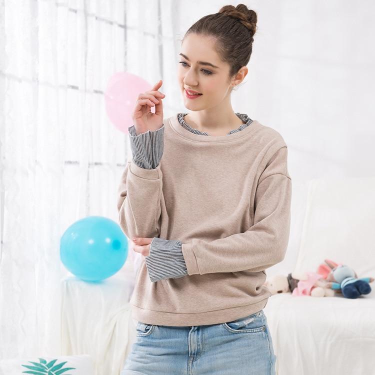 Nursing Top Cotton Stripe Splicing Breastfeeding Clothes Fashion Thicken Sweatshirt for Pregnant Women Loose Maternity Clothing