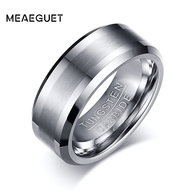 Meaeguet 8MM Classic 100% Tungsten Carbide Ring for Men Wedding Bands Tungsten Rings Never Rust
