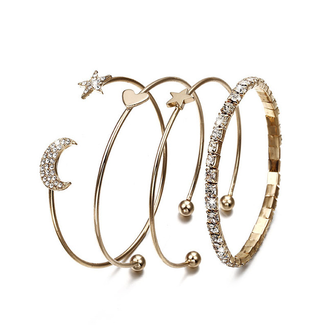 New fashion jewelry gold color Simple Moon Star Heart Crystal Bracelet Party Jew