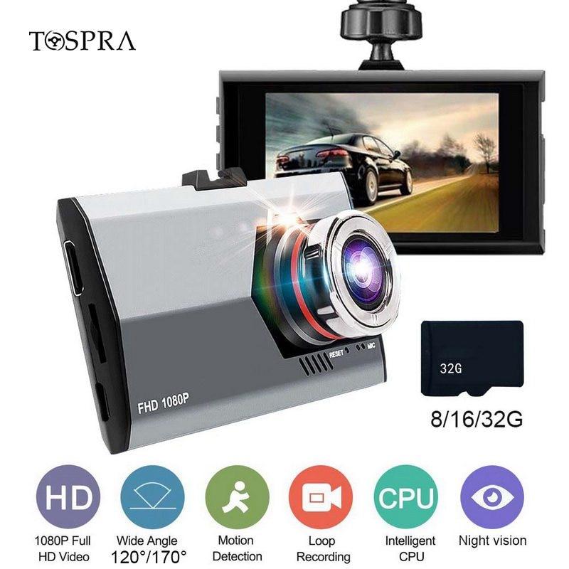 TOSPRA Car DVR Camera Recorder Ips-Display-Screen Dashcam Rear-Mirror-View Night-Vision
