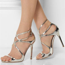 Eunice Choo Cross Strap Woman High Heels Party Sandals Sexy Cut-outs  Gladiator Summer Shoes Ankle Double Buckle Ladies Shoes b18a719e7972