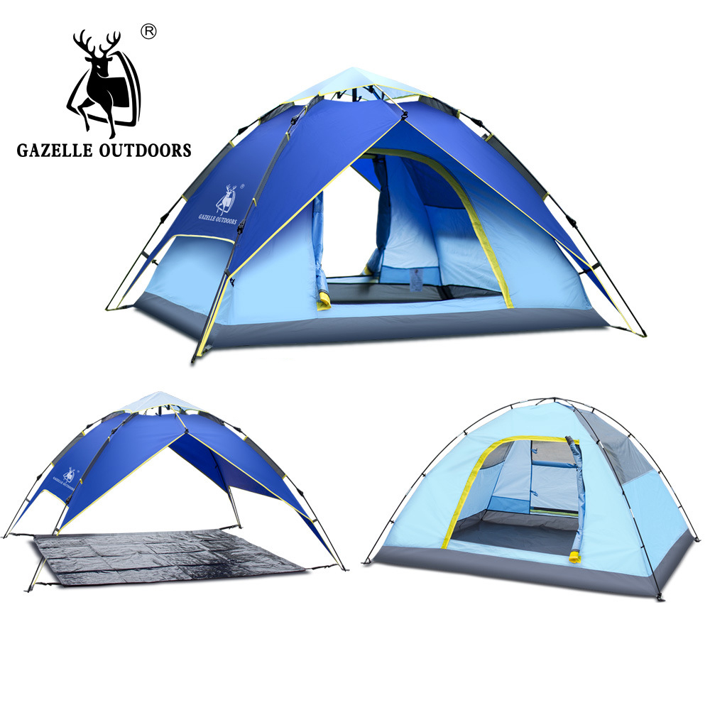 Outdoor Camping Tent Hydraulic Automatic Family 4 Person Tourist Fishing Beach Tents 3 Perosn Garden Gazebo Automatic Tent dkny chambers ny2494