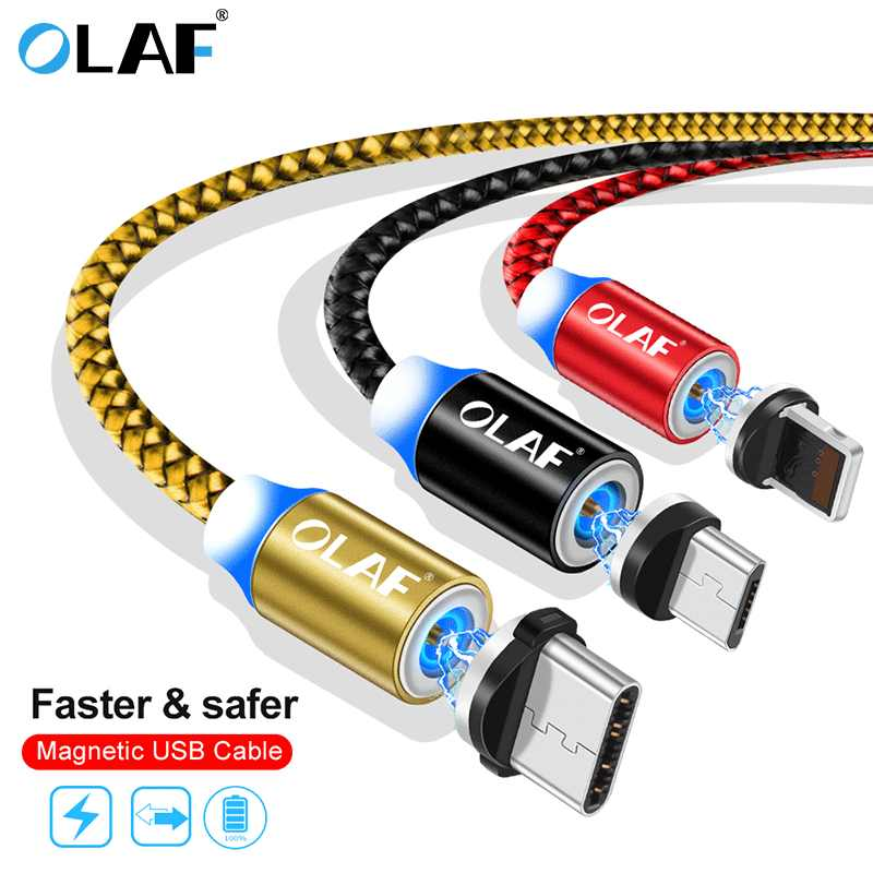 Olaf Kabel Dikepang LED Tipe C USB Mikro Magnetic USB Pengisian Kabel untuk Apple iPhone X 7 8 6 XS Max XR Samsung S9 Kabel