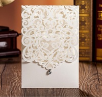 50pcs FREE SHIPPING White Vine Vintage Flower Wedding Invitation Card Cover Only With Bow NO Inner