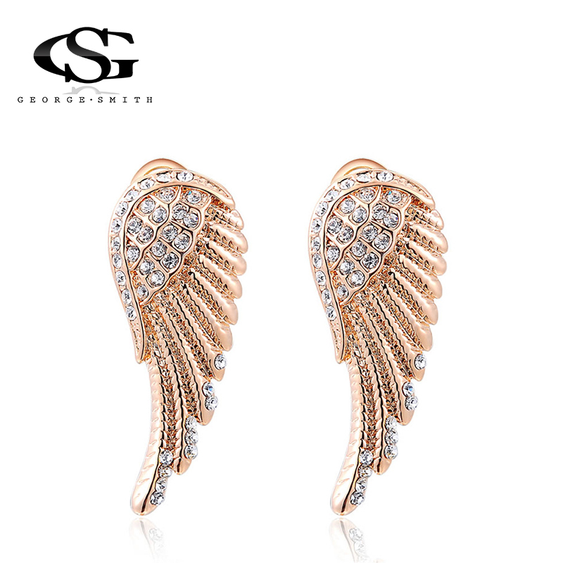 Jewelry & Accessories Gs Brand Butterfly Drop Earrings Champagne Color Fashion Clear Rhinestones Earrings For Girls Ladies 1 Pair Y3