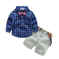 Boys Clothing Set Cotton Bow Tie Plaid Shirt+Strap Jeans Kids Suits For Boys Fashion School Shorts Uniforms Children Clothing