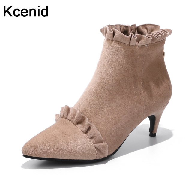 Kcenid Plus size 33-43 new sexy pointed toe small cat heels suede shoes  woman fashion ruffles back zipper ankle boots for women 02b1f7b0ad68