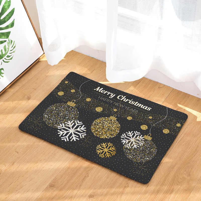 CAMMITEVER 豪華なゴールデン黒クリスマス敷物ホーミング新到着ドアマット入学ドアカーペットリビングルーム防塵マット