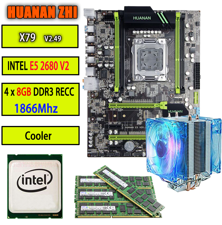 HUANAN ZHI V2.49 X79 carte mère LGA2011 ATX CPU E5 2680 v2 SR1A6 4x8G 32 GB 1866 Mhz avec refroidisseur PCI-E NVME M.2 SSD