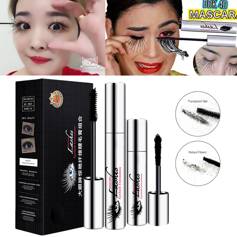 Waterproof Mascara 4D Filber Silk Eyelash Eye Black Cray Long Lash Extension Warm Water Washable Mascara Makeup Set 60pcs lot roller eye lash black mascara curling full volumizing mascara real beyond mascara black 8 5g eyelash extension