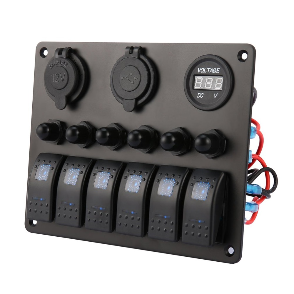 6 Gang Car Marine Boat LED Switch Panel Waterproof Rocker Switch Control with Digital Voltmeter Dual USB Charger
