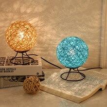 20CM USB Bedroom Night Light  table lamp Rattan Ball design Takraw night light for Bedside living room indoor lighting