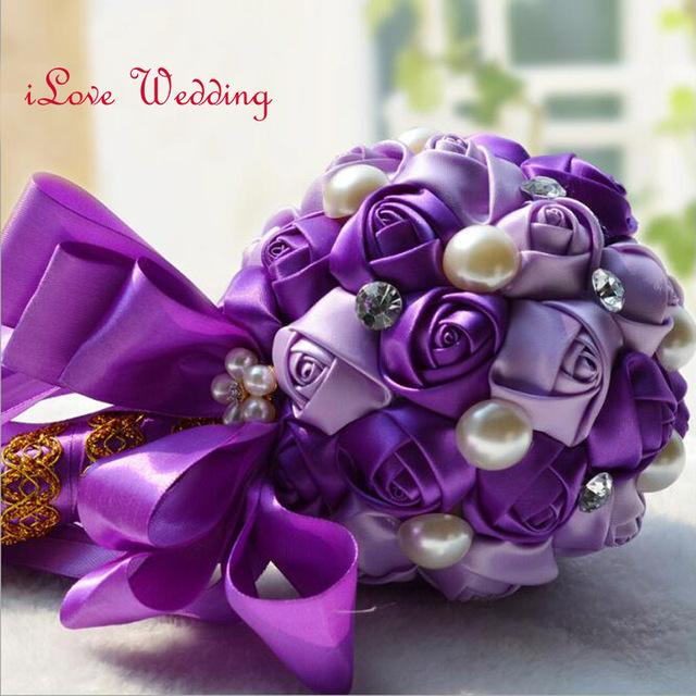 Hecho a mano Púrpura De Rose de Seda Wedding Bouquets 2017 con Perlas y Cristal de Lujo ramo Artificial Ramo De Novia de mariage