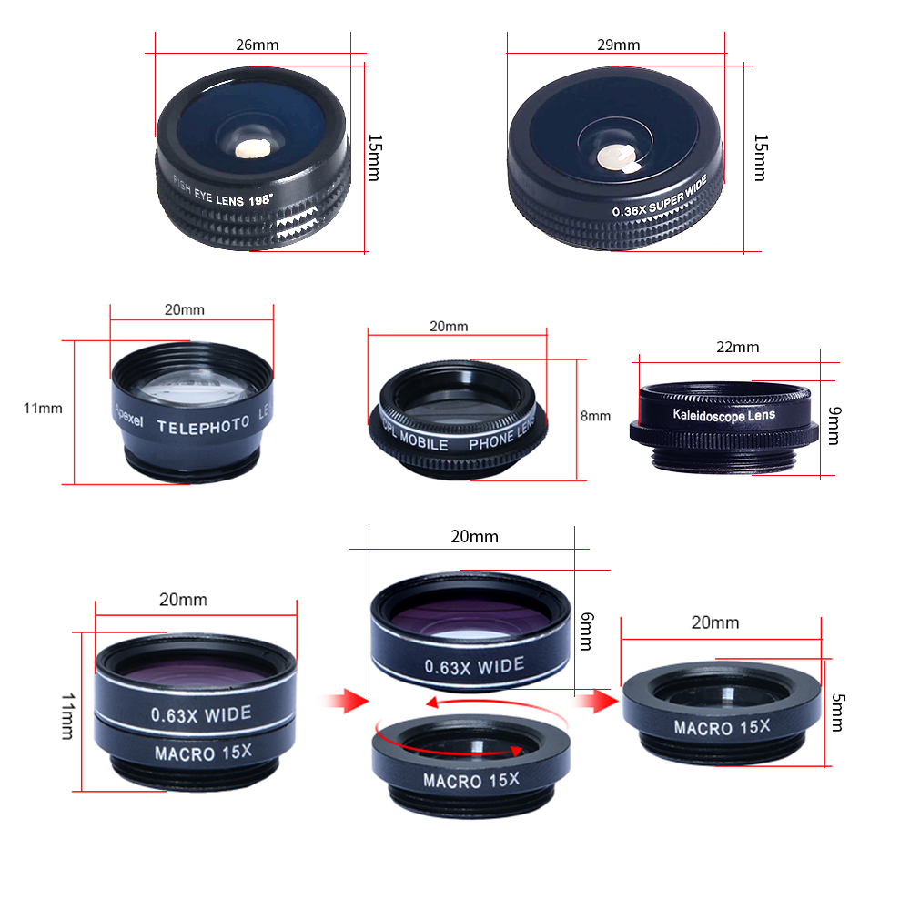 APEXEL 7 in 1 Phone Camera Lens Kit Fish Eye Wide Angle/macro Lens CPL Kaleidoscope and 2X telephoto zoom Lens for iPhone5/6s/7 3