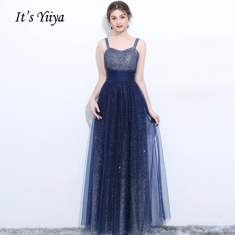 It's YiiYa   Prom   Gowns Gradient Deep blue Strapless Bling Empire Waist Straight Floor Length Cheap Plus size   Prom     Dresses   LX142