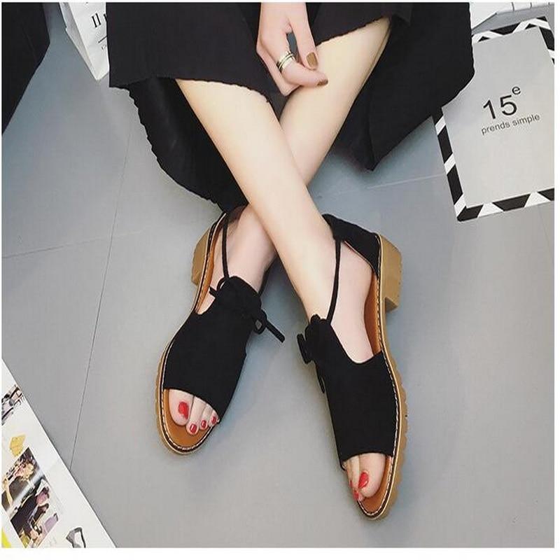 Summer flat Sandals Fish Mouth Women Sandals Flock Retro Low Heels Square Heel Woman Lace Up Shoe size 35-40 5