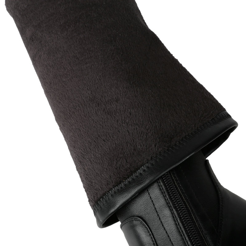 Woman Genuine Leather Thin High Heel Pointed Toe Over The Stretch Knee Boots Fashion Side Zipper Dress Winter Thigh Boots Black