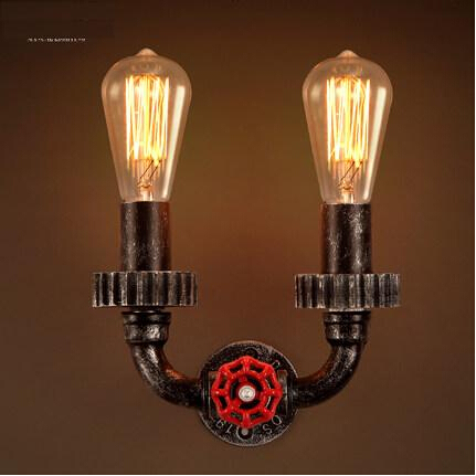 цена на IWHD Loft Style Industrial Vintage LED Wall Lights Iron Water Pipe Wall Lamp Retro Bedside Fixtures For Indoor Home Lighting