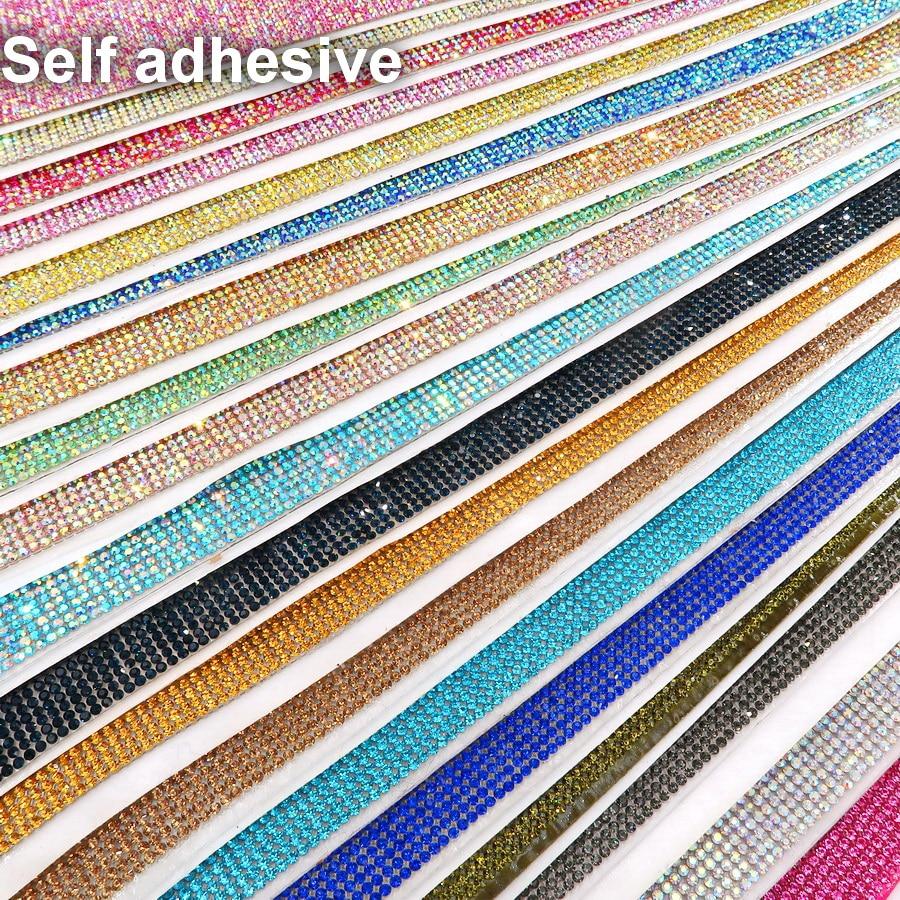 Self Adhesive SS6 2mm AB Colors Full Glass Crystal Rhinestone Mesh Applique Banding Roll Sticker Sheet Garment Shoes Diy Trim