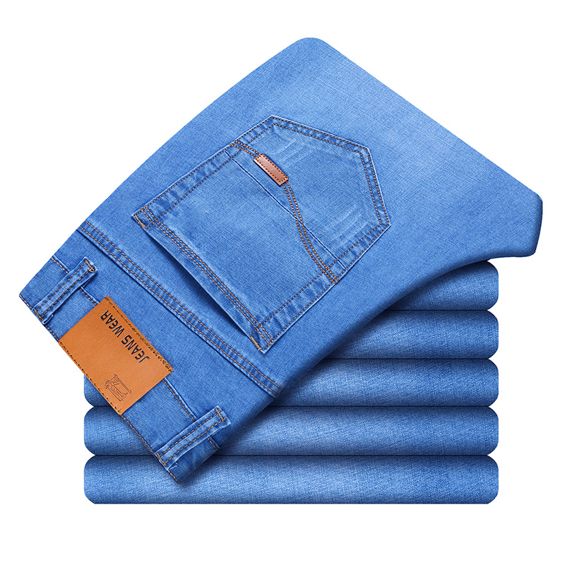 2019 New  3 Colors Classic Style Men Thin Jeans Summer New Style High Quality Elastic Force Slim Fit Brand Pants Blue Light Blue(China)