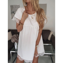 Lace White Dress Women Straight Short Sleeve O-neck Party Dresses Vintage Robe Femme Elegant Vestidos