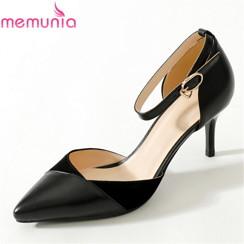 MEMUNIA 2018 spring autumn fashion genuine leather buckle women pumps stiletto high heels poinetd toe black wedding shoes memunia spring autumn popular genuine