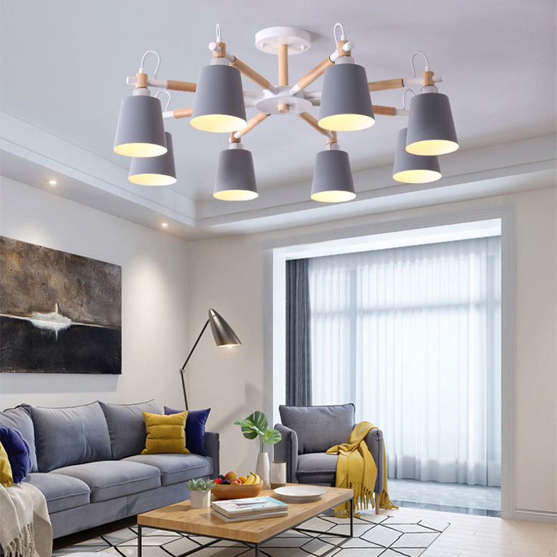 Nordic Minimalist Metal And Wooden Bracket Chandelier Chandelier E27 Colorful Chandeliers For Kitchen Living Room Bedroom Study