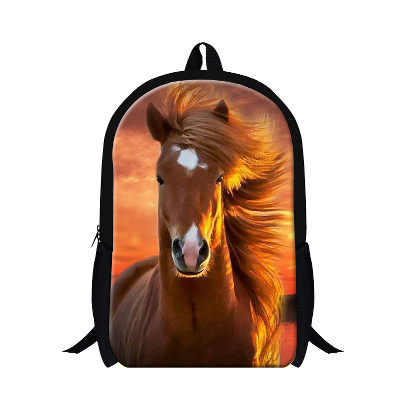 Cool school backpack horse 3D printing for kids children,plush brown horse bookbags for boys personalized lightweight back packs