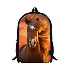 Morral de la escuela fresco caballo impresión 3D para niños los niños, felpa caballo marrón mochilas mochilas para niños personalizado ligero