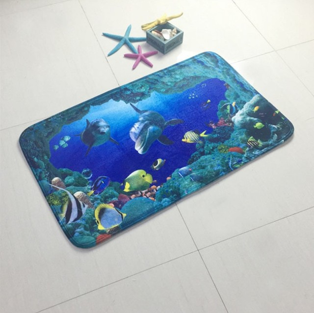 New 3 pieces/set Ocean Underwater World Dolphin Carpet  Toilet Mat for Three Sets of Bath Mat