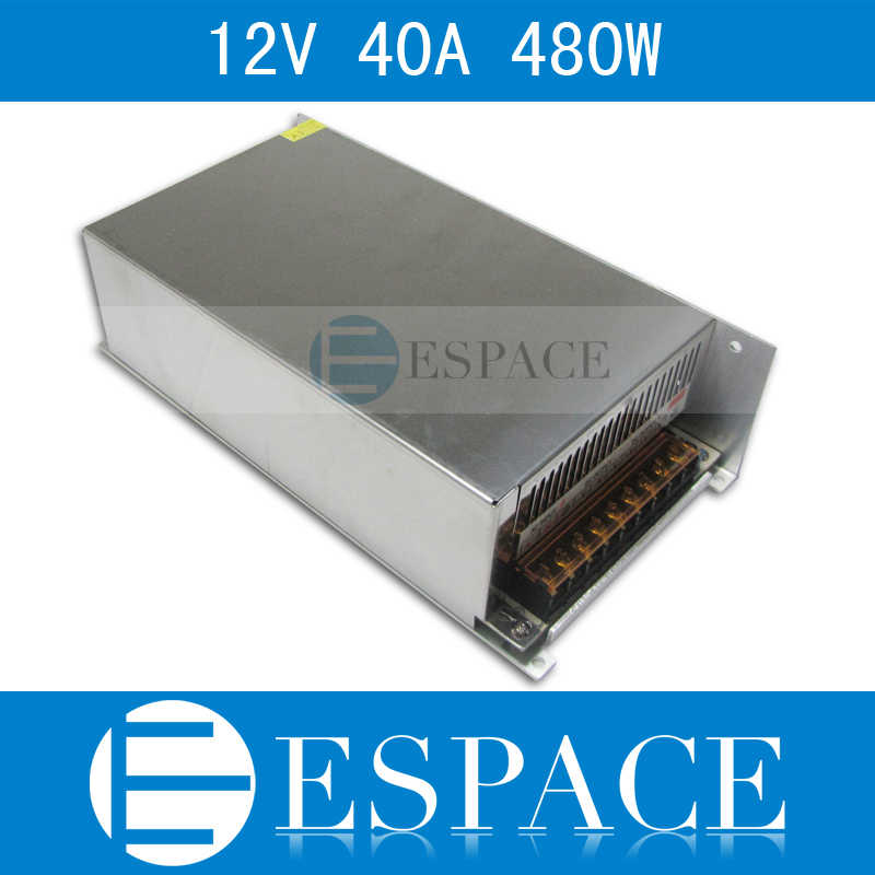 50piece/lot best quality 12V 40A 480W Switching Power Supply Driver for LED Strip AC 100-240V Input to DC 12V free fedex