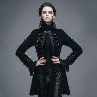 Дьявол, Готическая мода Флокирование узор женские куртки панк черный с длинными рукавами одно пальто на пуговице викторианские Пиджаки Вер