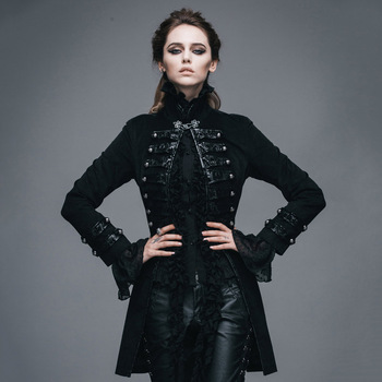 Devil Fashion Gothic Flocking Pattern Lady Jackets Punk Black Long Sleeves Single Button Coats Victorian Jackets Outerwear black long sleeves rose embroidery pattern cropped top