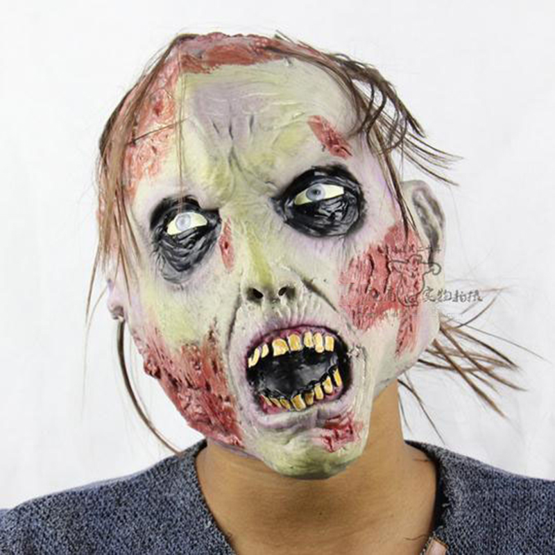 2016 party mask halloween costume the walking dead halloween mask crazy mask creepy latex realistic rubber - Cheap Creepy Halloween Costumes