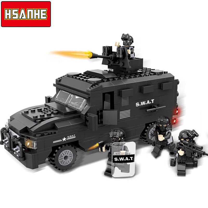 HSANHE Building Block Brick SWAT Car 3D Model DIY Educational Toy Compatible With Legoearly City Boy Christmas Gift Toy For Kid