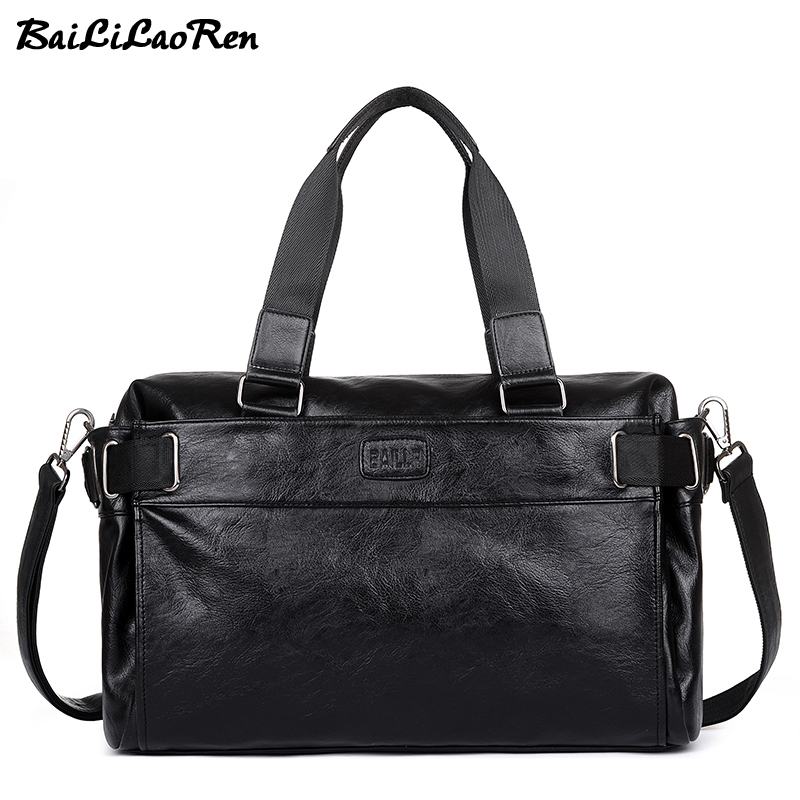 BaiLiLaoRen Men Travel Duffle Bags PU Leather Male Travel Bags Black Shoulder Handbags Large Capacity Messenger Bags Casual Tote sitemap 67 xml