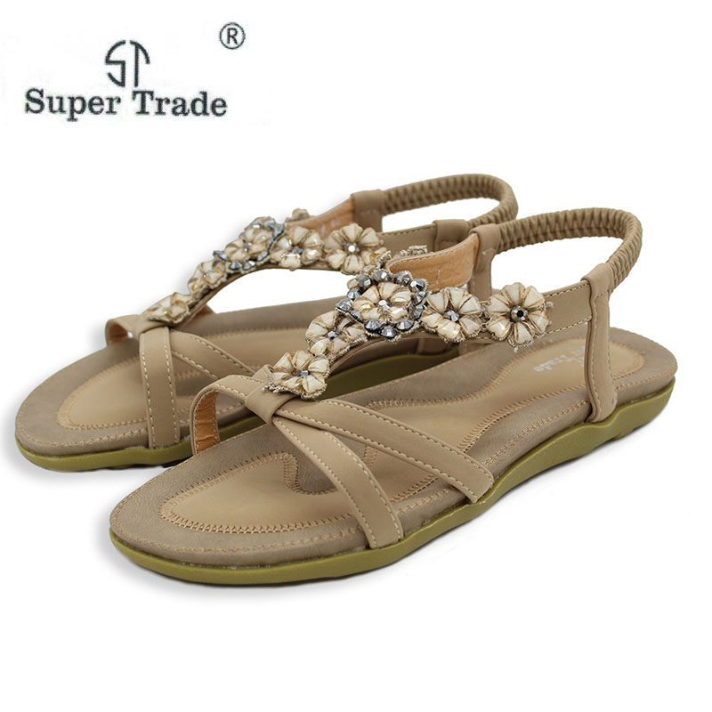 Summer Women Sandals 2018 Gladiator Sandals Women Shoes Bohemia Flat Shoes Sandalias Mujer Ladies Shoes New Flip Flops Size35-45 2018 new bohemian women sandals crystal flat heel sandalias rhinestone chain women wedge shoes thong flip flops shoes