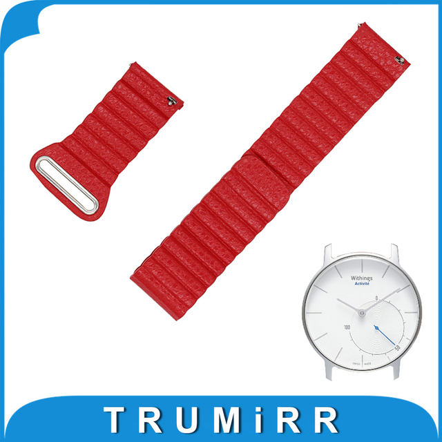 18mm Genuine Leather Watchband Quick Release Strap for Withings Activite / Steel / Pop Band Magnetic Buckle Wrist Belt Bracelet