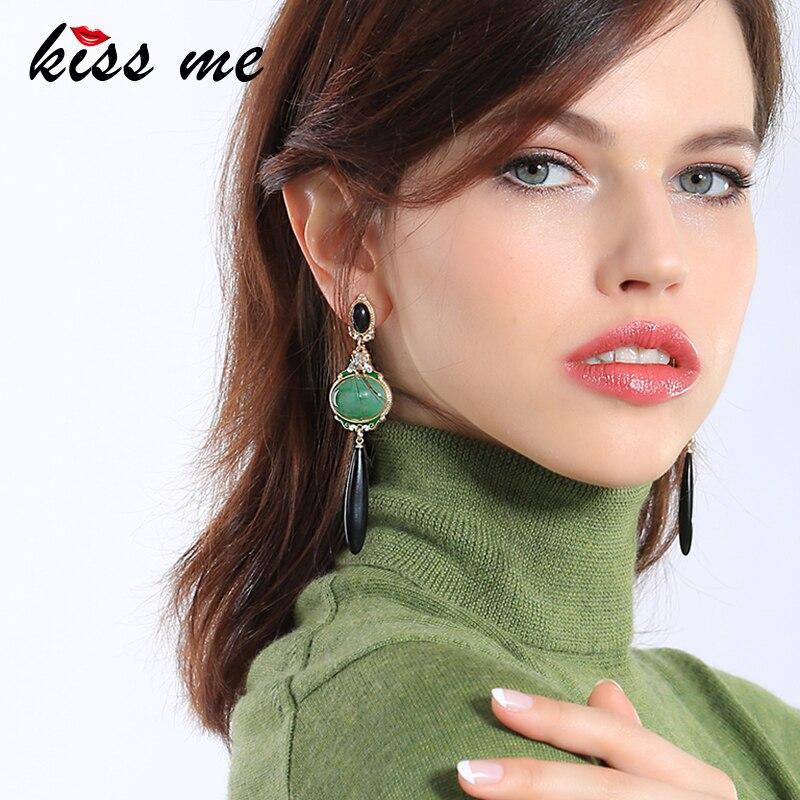KISS ME Black & Green Geometric Long Earrings 2017 Brand Party Hanging Earrings for Women Fashion Jewelry a suit of gorgeous rhinestone geometric earrings for women