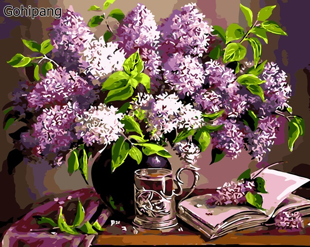 Framless painting by numbers paint by number coloring by numbers for home decor picture oil painting canvas painting flower