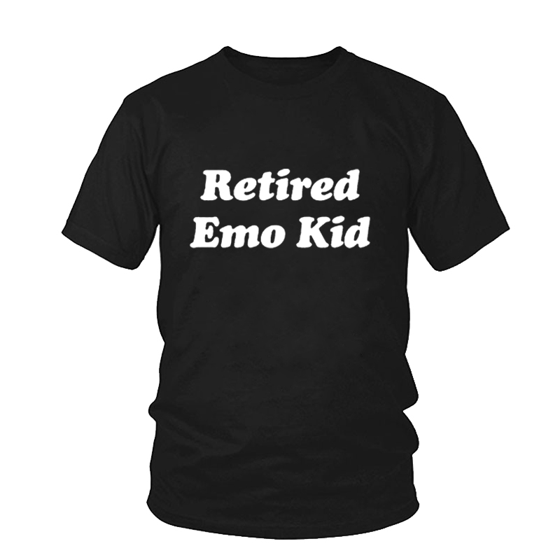 Cotton Tees s Female Tumblr Graphic Female Tshirt Clothing RETIRED EMO KID Ladies T-shirt Women Summer Style Top(China)