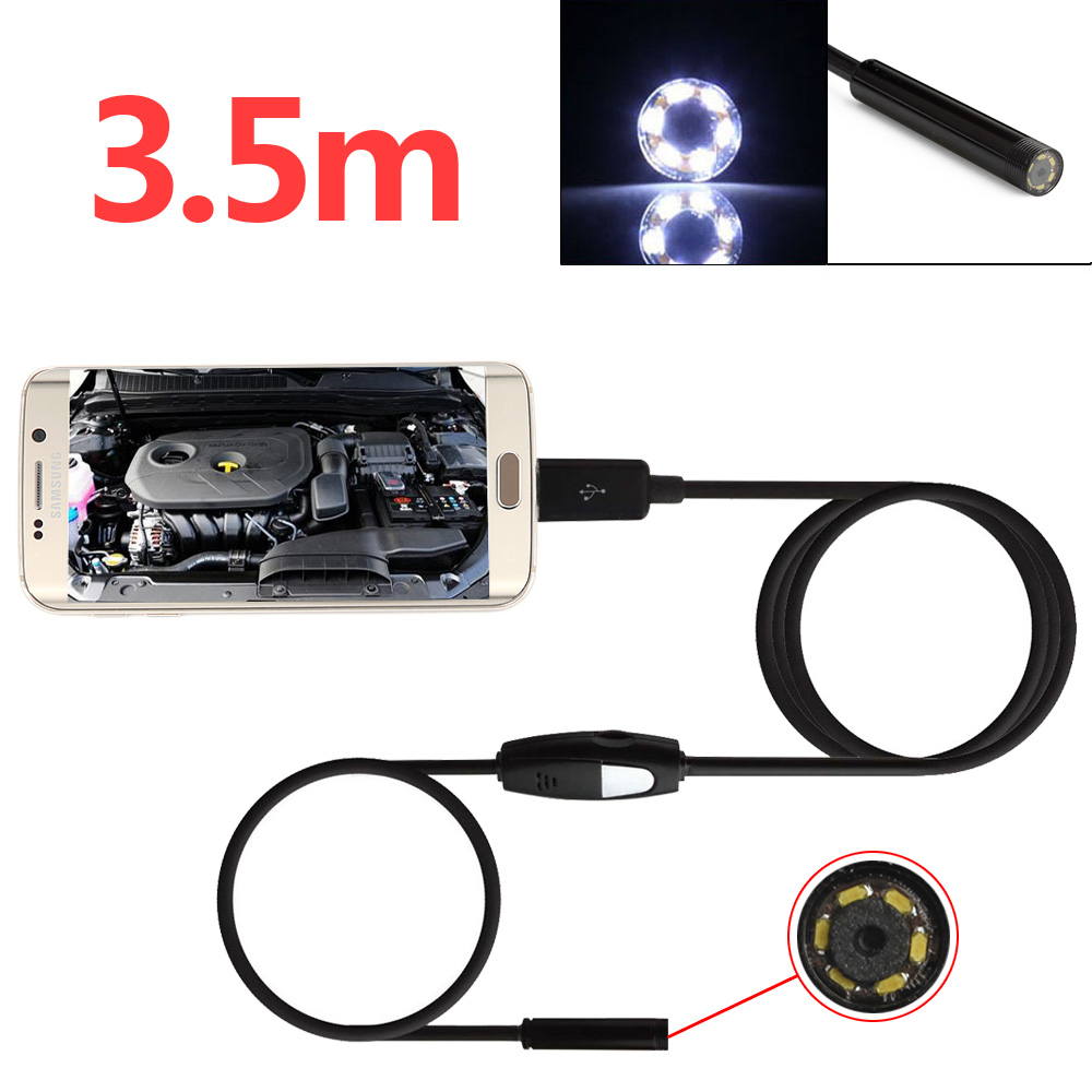 Waterproof 3.5m/11.4ft 0.3million Pixels 720P Micro USB Borescope 6 LEDs Inspection Video 5.5mm Camera for Android & PC