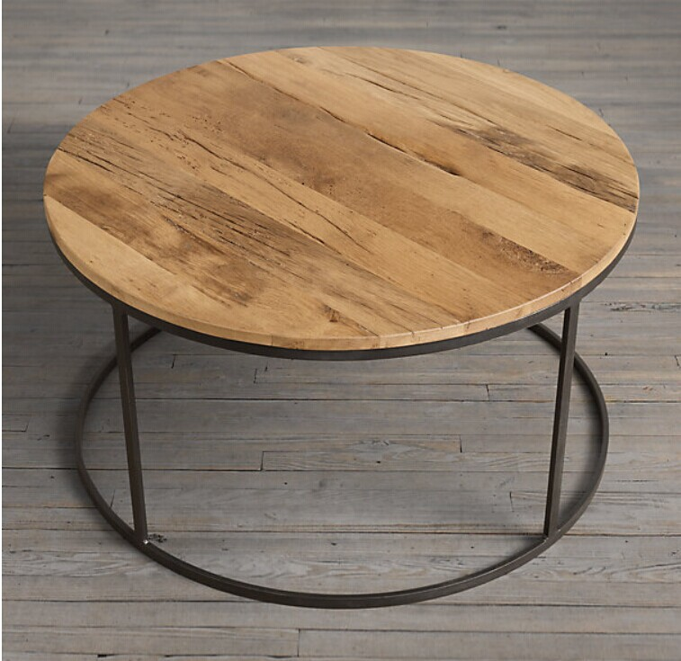 Solid Wood Furniture Wrought Iron Coffee Table Round Coffee Table Coffee Table Desk American