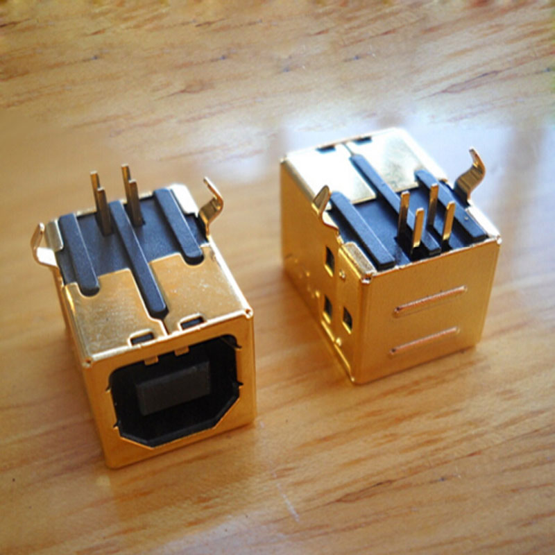 100pcs High quality DIY 3U Gold Plating USB 2 0 B Type Female Socket Printer Interface